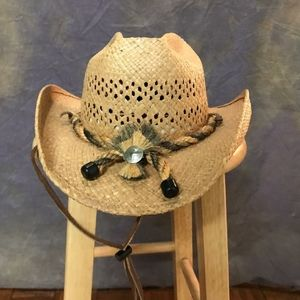 SHADY BRADY Raffia Straw Celebrity Hat.Made in USA